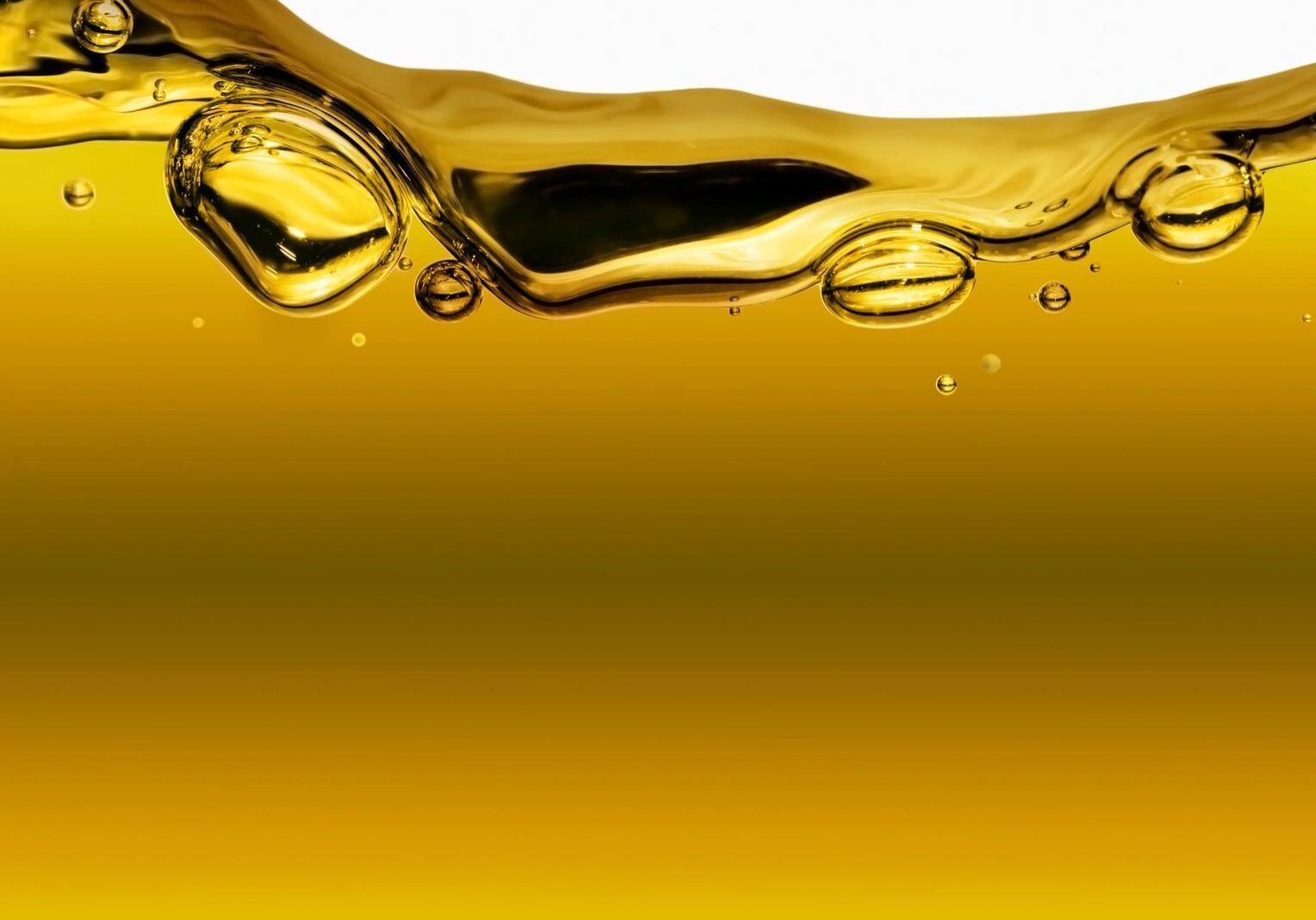 Oil showing immiscible bubbles